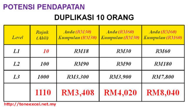 Potensi Pendapatan Duplikasi 10 rakan niaga